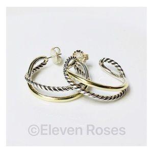David Yurman Sterling 14k Crossover Hoop Earrings